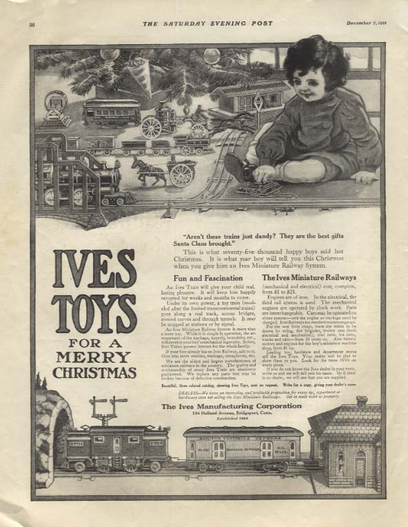 Aren't these trains just dandy? Ives Electric Trains for Christmas ad 1911