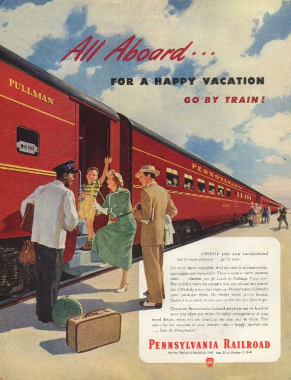All Aboard for a Happy Vacation Go by Train Pennsylvania RR ad 1949 SEP