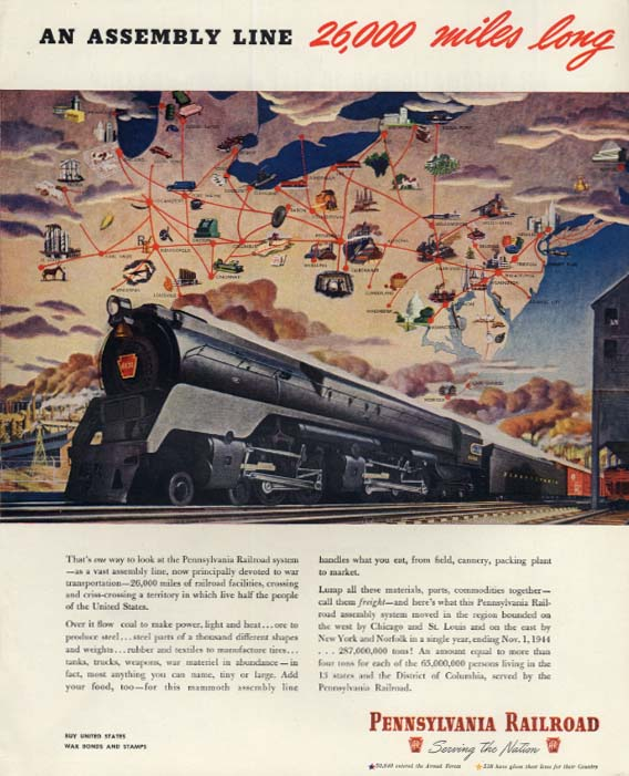 An Assembly Line 26,000 Miles Long - Pennsylvania Railroad Q2 Loco ad 1945