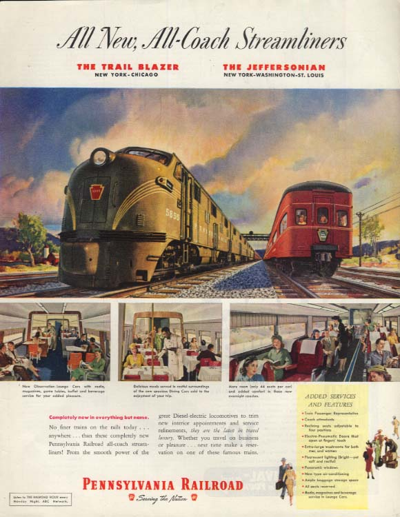 All New All-Coach Pennsylvania RR Trail Blazer & The Jeffersonian ad 1949 SEP