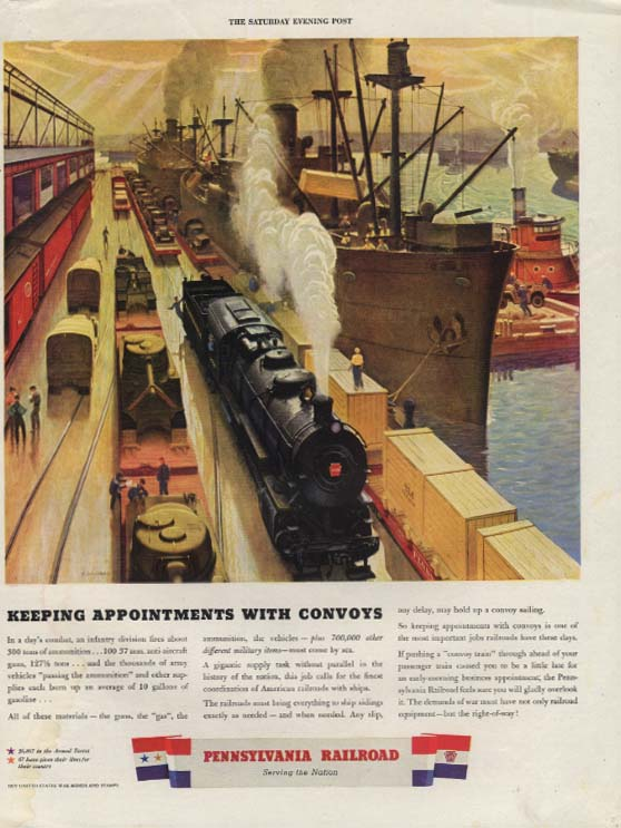 Keeping Appointments with Convoys - Pennsylvania Railroad ad 1943 SEP
