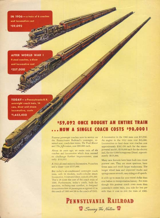$59,092 once bought an entire train Pennsylvania RR T1 train ad 1947 L