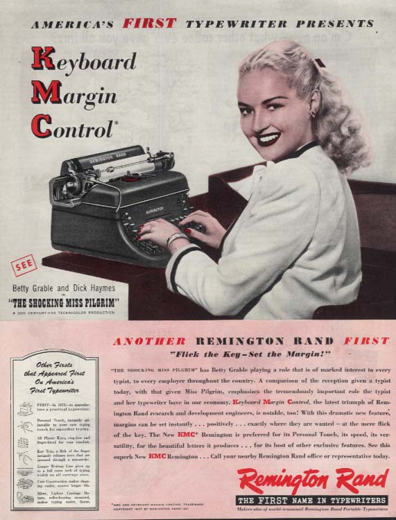 Betty Grable for Remington Rand Keyboard Magic Control typewriter ad 1947 SEP