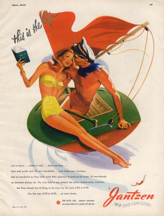 This is the life Jantzen Swimsuits for Women & Men ad 1946 Pete Hawley art