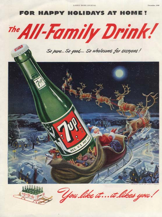 Happy Holidays from 7 UP The All-Family Drink Santa in sleigh ad 1949 LHJ
