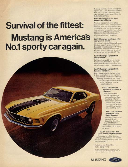 Survival of the fittest Ford Mustang Mach I 428 ad 1970 EB