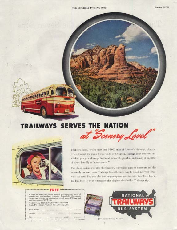 Trailways serves the nation at Scenery Level bus ad 1946 SEP