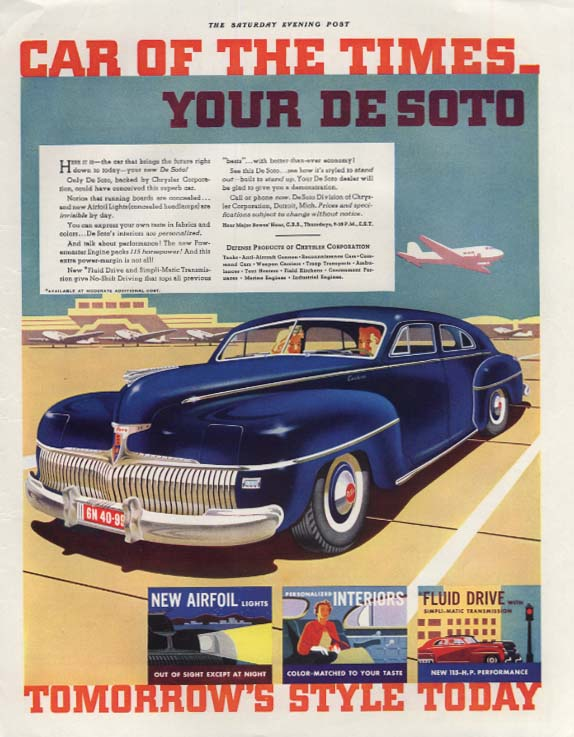 Car of the Times - Your De Soto Custom 1942 SEP tomorrow's style today