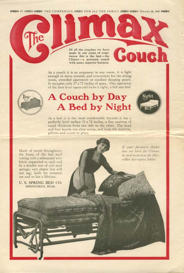 A Couch by Day a Bed by Night - US Spring Bed Climax Couch ad 1920