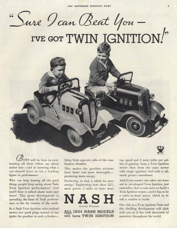 I can beat you I've got Twin Ignition! kids in pedal cars Nash ad 1934 SEP