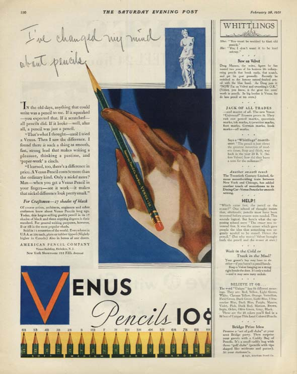 Image for I've changed my mind about pencils Venus Pencils 10c ad 1931 SEP