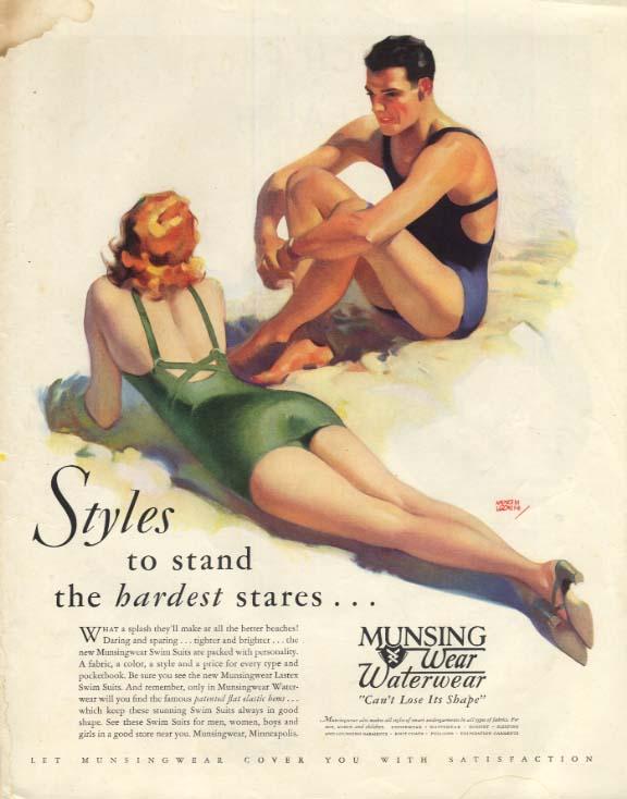 Munsingwear Waterwear swimsuits for men & women ad 1933 Andrew Loomis SEP