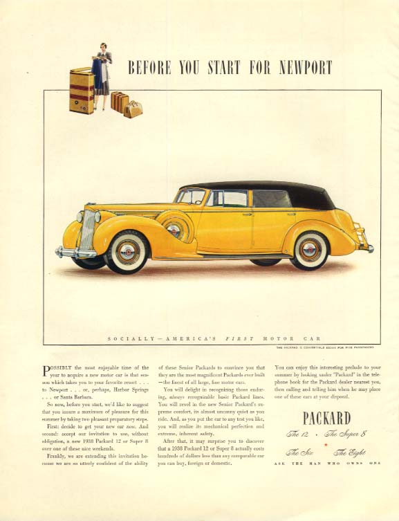 Before you start for Newport - Packard 12 Convertible Sedan ad 1938 F