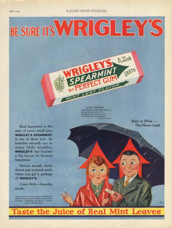 April Showers - Be Sure It's Wrigley's Spearmint Chewing Gum ad 1929 LHJ