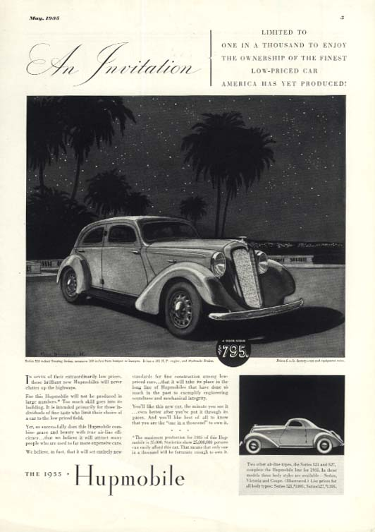 An Invitation 1 in a thousand Hupmobile Series 518 521 & 527 ad 1935