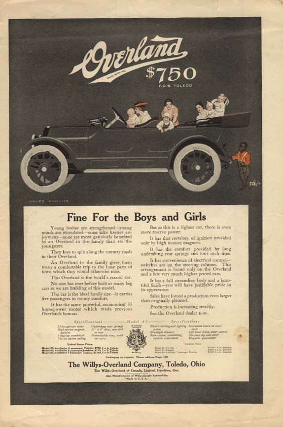 Image for Fine for the Boys and Girls Overland Model 83 Touring Car ad Coles Phillips