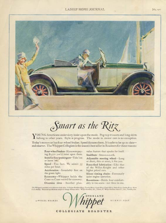 Image for Smart as the Ritz- Young Americans under sixty Overland Whippet Roadster ad 1927
