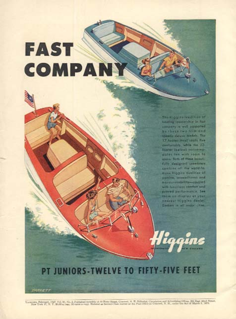 Fast Company PT Juniors speedboats ad 1947 Yachting