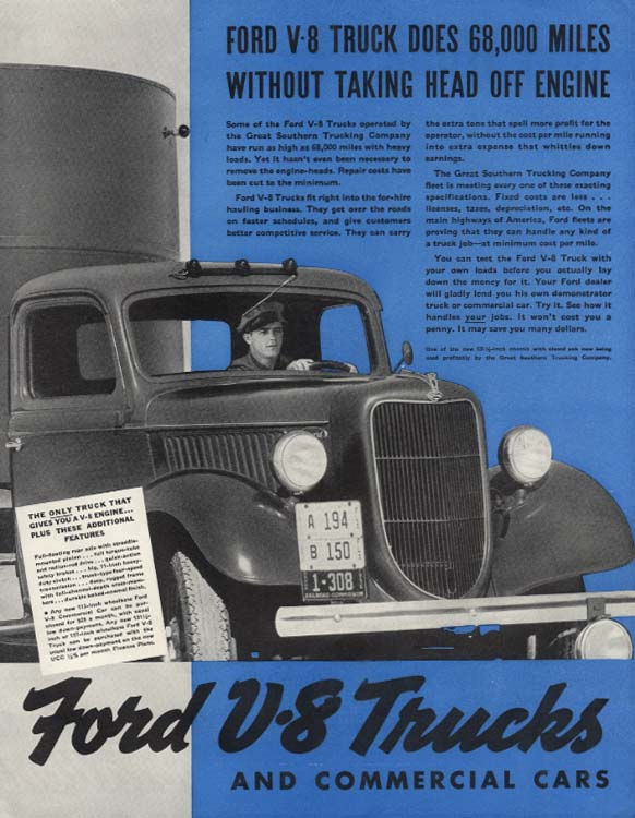 68,000 Miles Without Taking the Head off the Engine Ford V-8 Truck ad 1936 SEP