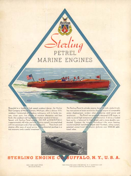 Sterling Petrel Marine Engines for Hacker 32-foot Runabout ad 1935 Y