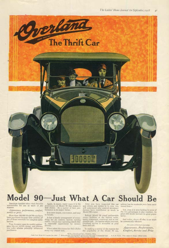 Image for Overland Model 90 - Just What A Car Should Be ad 1918 LHJ woman driver