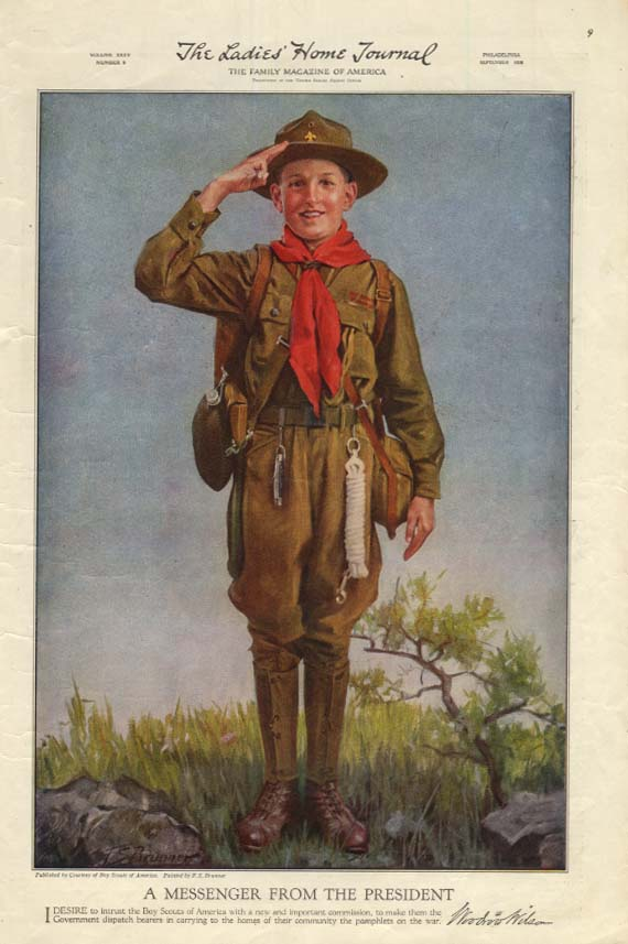 A Boy Scout Messenger from the President Woodrow Wilson magazine page 1918