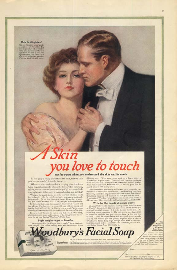 A Skin You Love To Touch Woodbury Facial Soap ad 1915 Clarence Underwood art