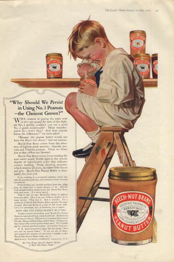 Why should we persist? Beech-Nut Peanut Butter ad 1917 boy eats from jar
