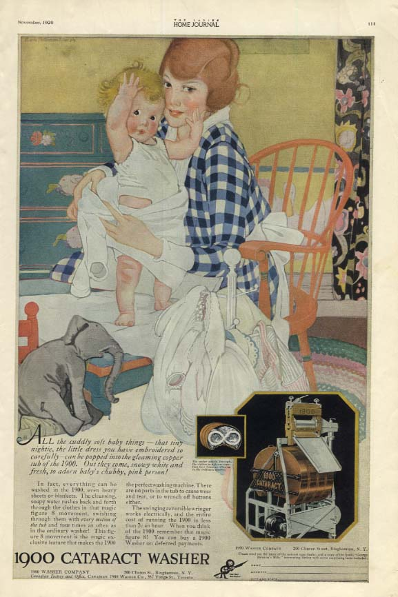 All the cuddly baby things 1900 Cataract Washer ad 1920 Lucie Patterson Marsh