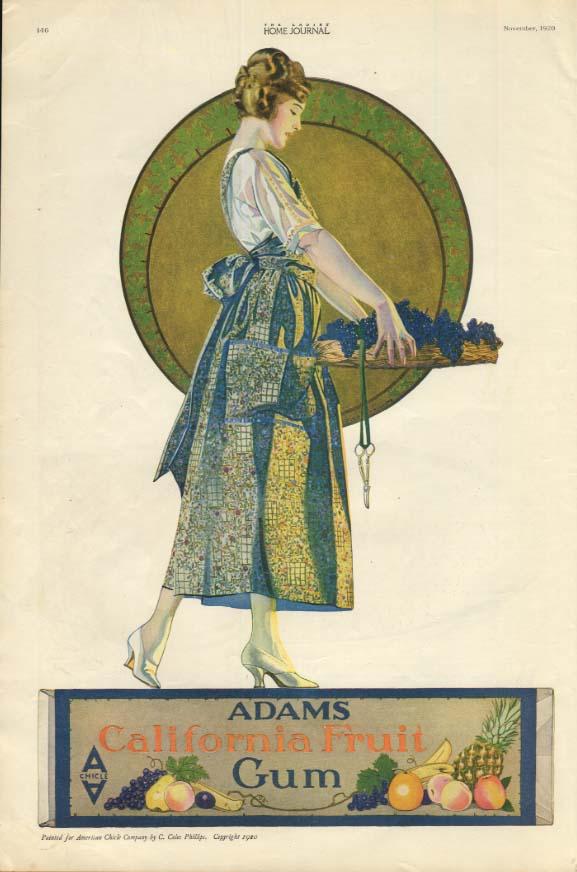 Adams California Fruit Chewing Gum ad 1920 Coles Phillips art