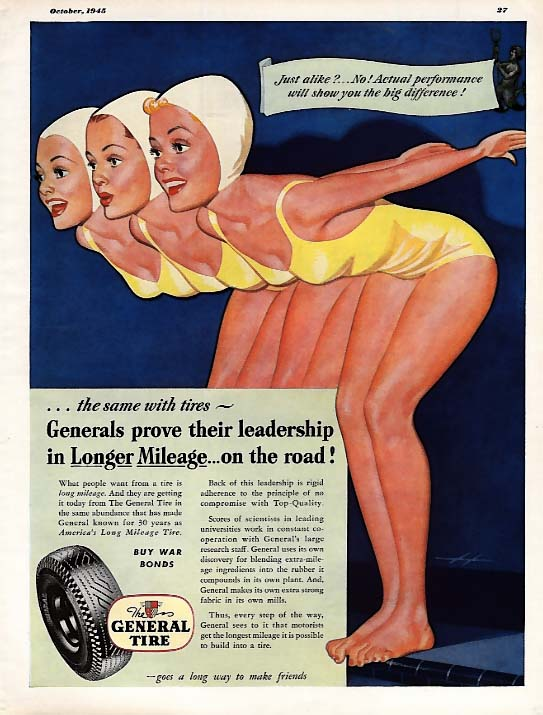Three beauties in yellow swimsuits ready to dive General Tire pin-up ad 1945 Esq