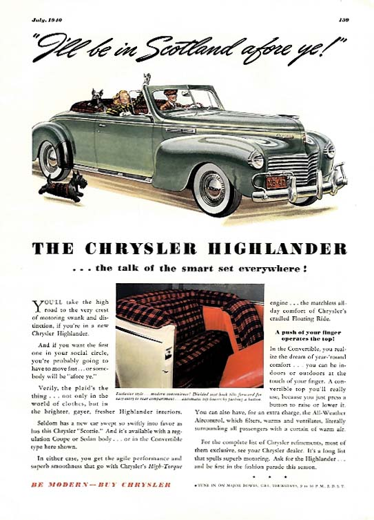 Image for I'll be in Scotland afore ye! Chrysler Highlander Convertible ad 1940 Esq