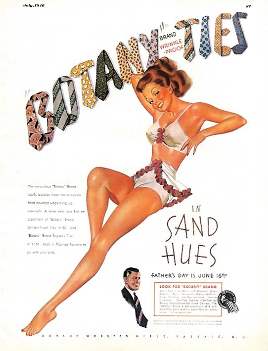 Pin-up redhead in 2-piece swimsuit for Botany Ties ad 1946 Esq