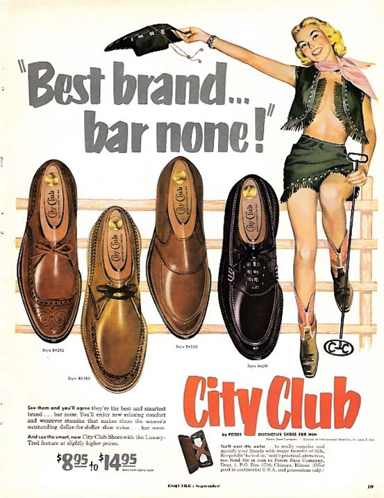 Pin-up cowgirl branding iron & nude under vest for City Club Shoes ad 1952 Esq