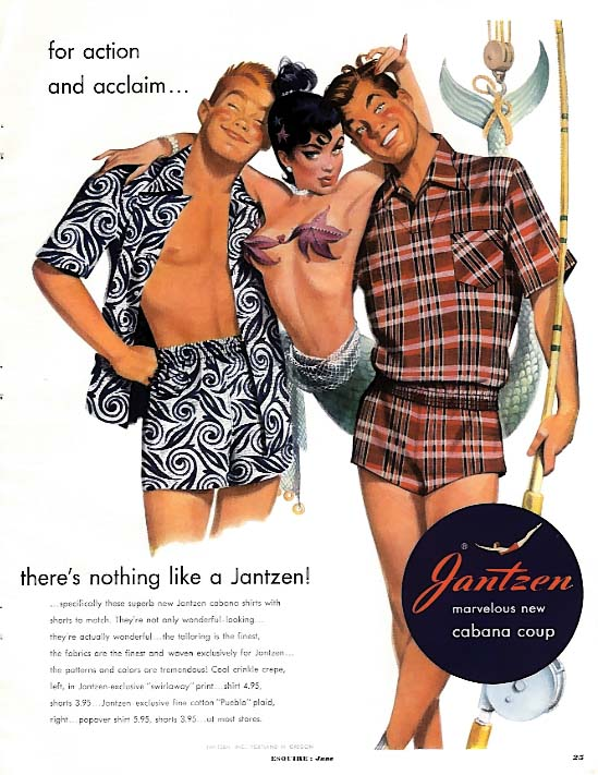 For action and acclaim Jantzen Swim Trunks for Men ad 1951 Hawley mermaid pin-up