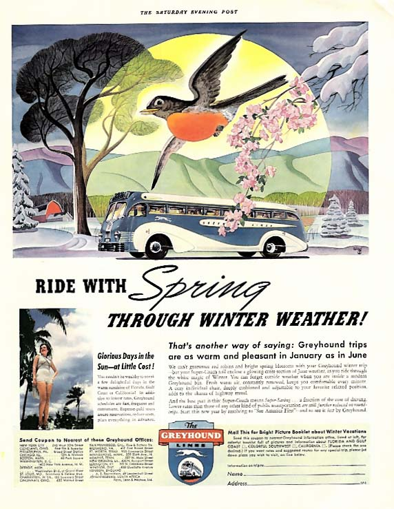 Ride with Spring through Winter Weather! Greyhound Bus ad 1940 SEP