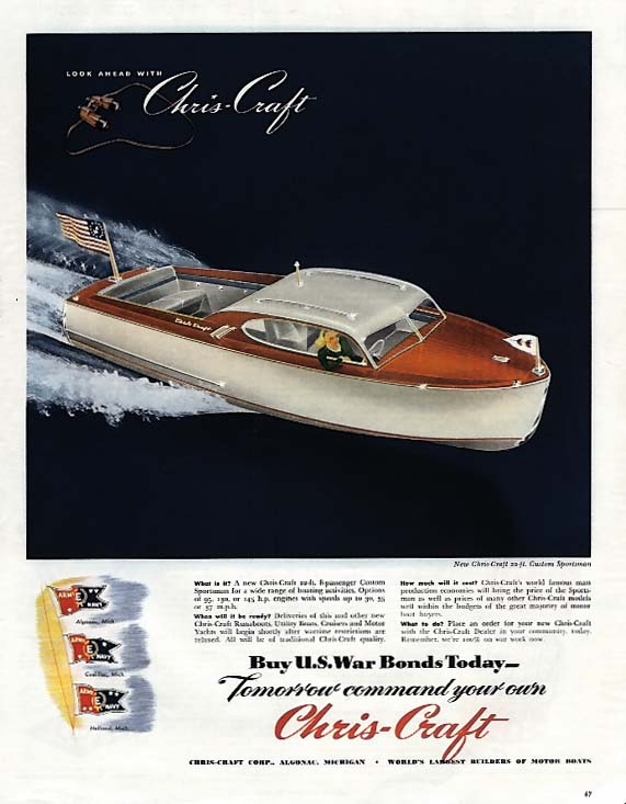 Buy War Bonds Today Command your Chris-Craft 22' Sportsman tomorrow ad 1945 Col