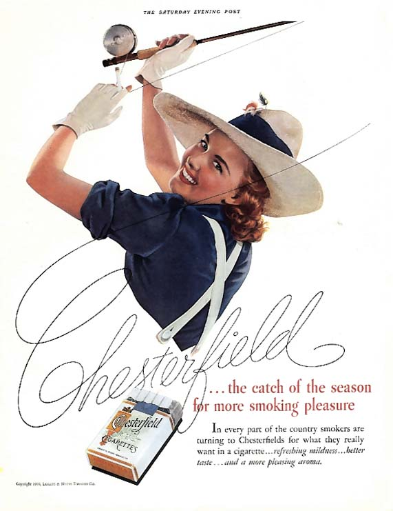 Chesterfield Cigarettes catch of the season ad 1939 woman fly fishing