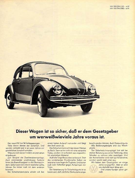 Dieser Wagen is so sicher -- Volkswagen Beetle ad in German 1967