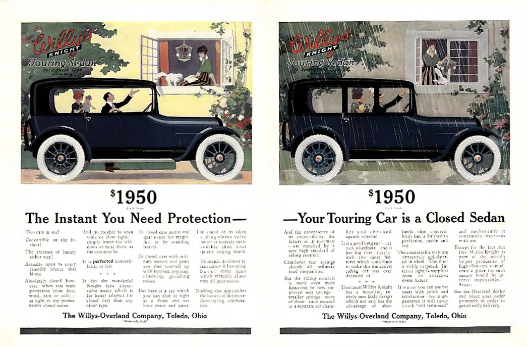 Image for The Instant You Need Protection - a Closed Sedan Willys-Knight ad 1916 Vg
