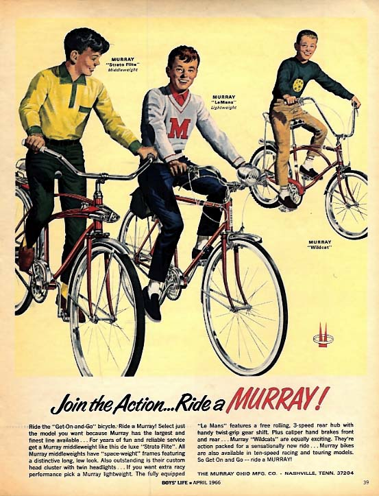 Join the Action - - Ride a Murray Bicycle ad 1966 Strato Flite LeMans Wildcat BL