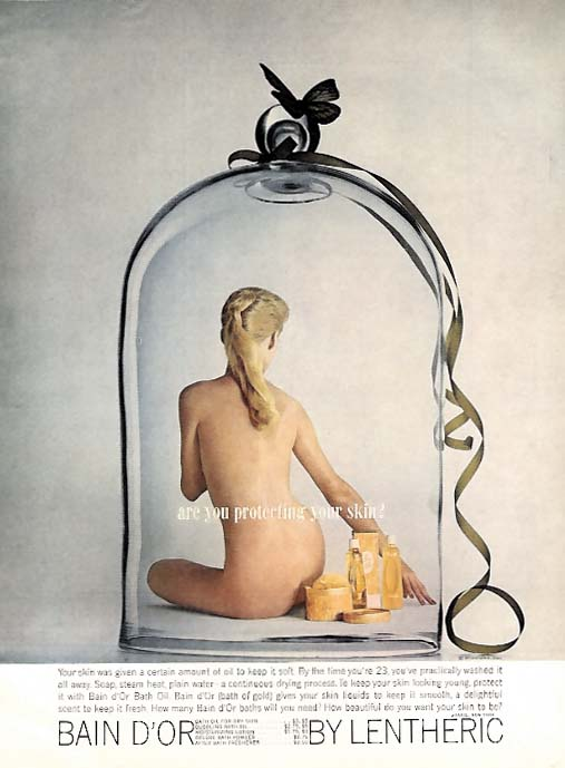 Are you protecting your skin? Bain d'Or by Lentheric ad 1960 nude in bell jar