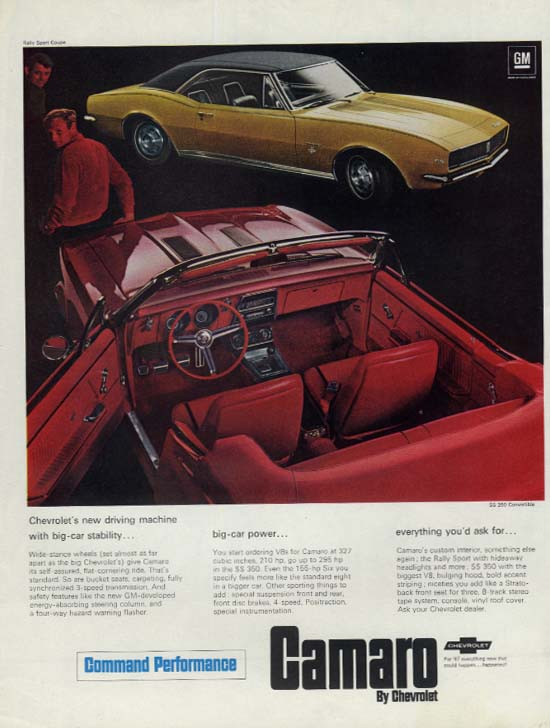 Big-car stability & power Chevrolet Camaro SS 350 Convertible ad 1967 SEP