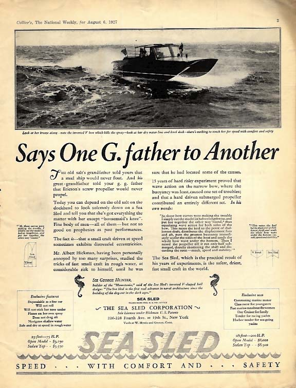 Says one Grandfather to Another - Sea Sled Speedboat ad 1927