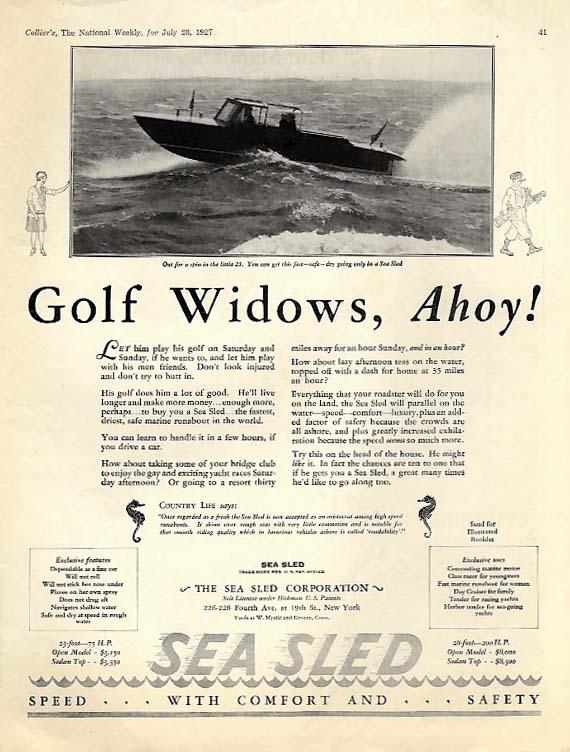 Gold Widows, Ahoy! Sea Sled Speedboat ad 1927