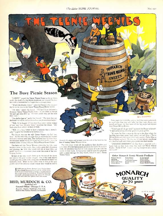 The Teenie Weenies for Monarch Foods - The Busy Picnic Season ad 1927 LHJ