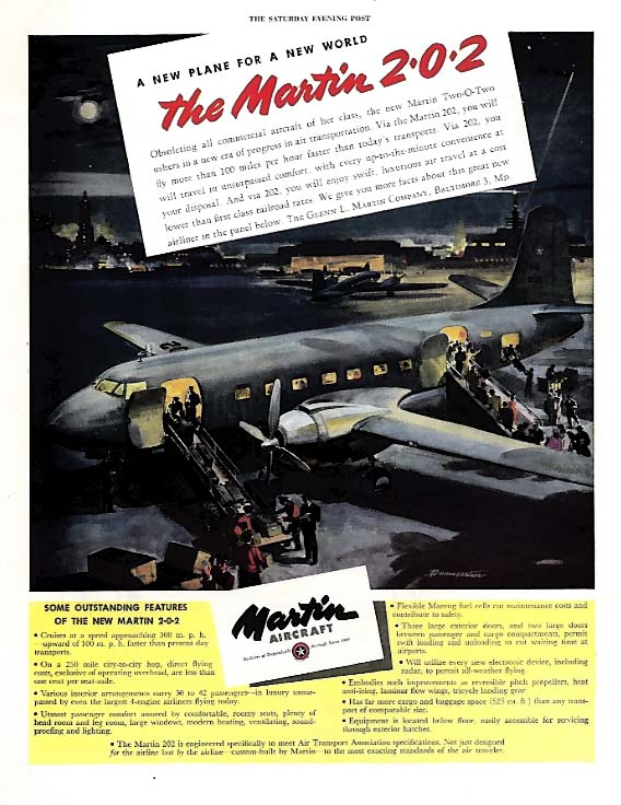 A new plane for a new world Martin Two-O-Two ad 1945 Sep