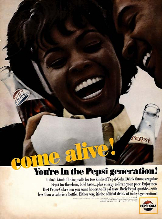 Come alive! You're in the Pepsi generation! Ad 1965 Negro models