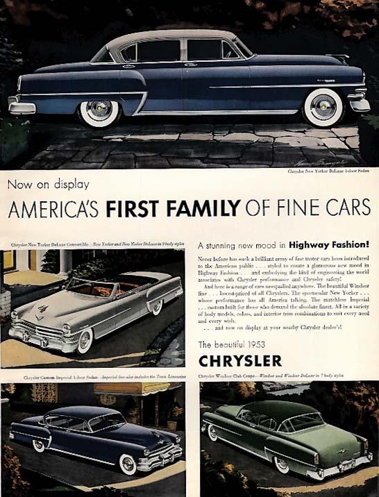 Image for America's 1st Family of Fine Cars Chrysler New Yorker Imperial Windsor ad 1953 E