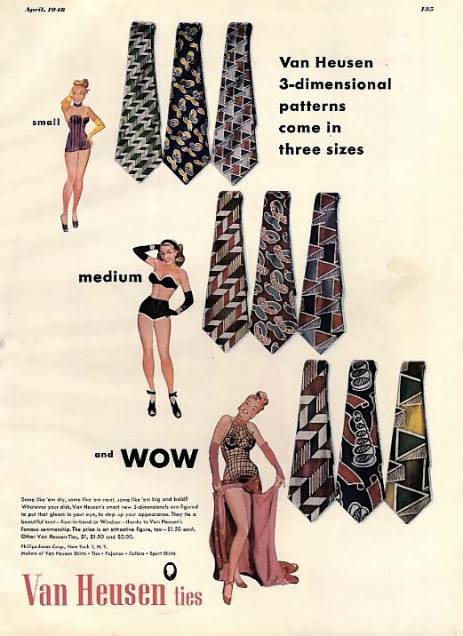 Smnall medium and WOW Van Heusen Ties ad 1948 pin-up girls Esq